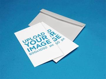 Postcard Stack Mockup Lying on Top of Envelope