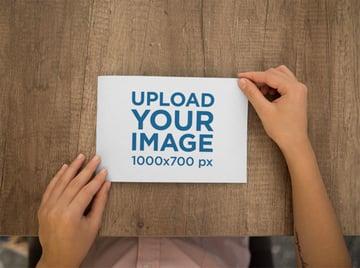 Top Shot Mockup of a Postcard