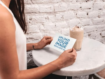 Blank Postcard Mockup Template of a Woman at Cafe