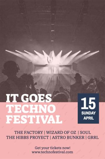 Music Promo Flyer Maker for a Techno Festival