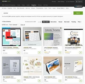 Editable Calendar Templates From GraphicRiver