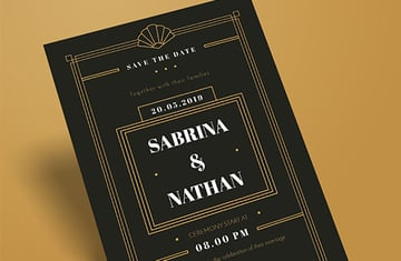 Black and Gold Art Deco Inspired Wedding Invitation