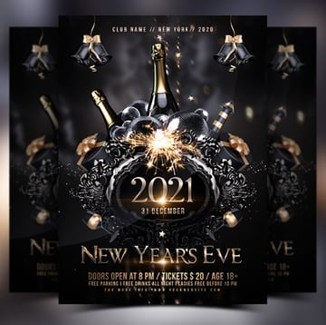 New Years Black and Gold Invitation Template