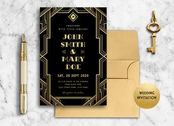 Black and Gold Art Deco Wedding Invitation Template