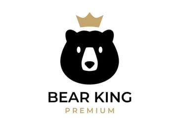 Bear Gold King Crown Logo