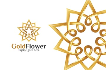 Gold Flower Black White and Gold Logo Template