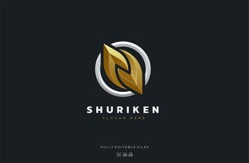 Luxury Shuriken Gold Logo Design Logo