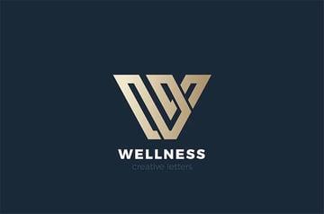 Letter W Black Gold Logo Design