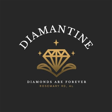 Diamantine Golden Logo Design PNG