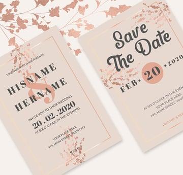 Romantic Rose Gold Wedding Invitations Suite