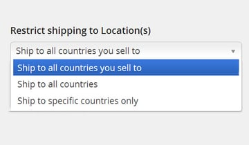 Restrict shipping to Locations options