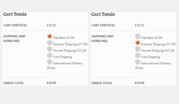 Shopping cart showing different shipping totals depending on shipping method