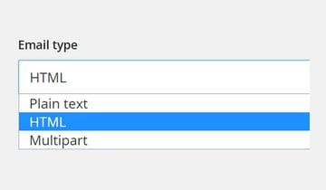 Email type dropdown menu