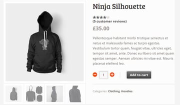 Product in an online store showing product gallery images