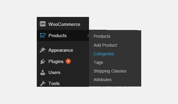 Product categories menu