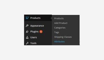Product Attributes menu