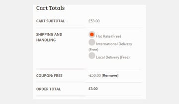 Cart showing 50 pounds discount