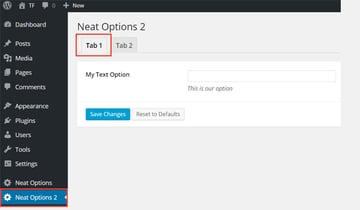 The My Text Option inside Tab 1 of panel Neat Options 2