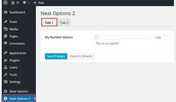 Adding a number option to a tab