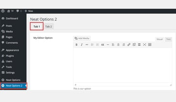 The editor contained in a tabbed interface