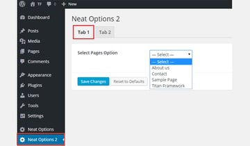 Adding a Select-Page element to the tabbed interface
