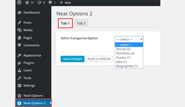 Adding the select-categories type to a tabbed interface