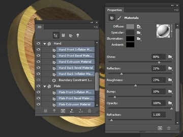 Hand and Plate Mesh Material Settings