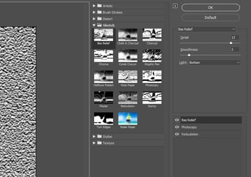Bas Relief Filter Settings
