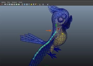 Unhide the parrots mesh