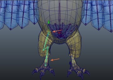 Place the joints inside the leg mesh