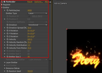 Change some values of Particular effect