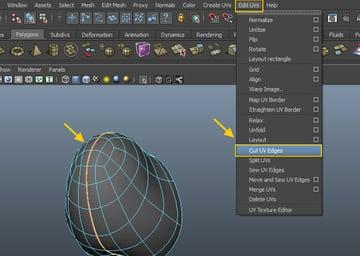 Edit UVs  Cut UV Edges
