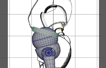 With the pipe mesh selected move and place it on the spherical abdominal