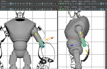 Place the cylinder mesh around the arm mesh