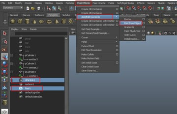 Fluid Effects Add Edit Contents Emit from Object