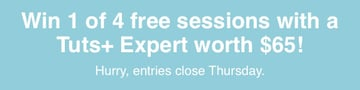 Win 1 of 4 free sessions with a Tuts Expert worth 65 Hurry entries close Thursday