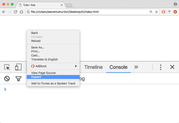 The browser console in Chrome