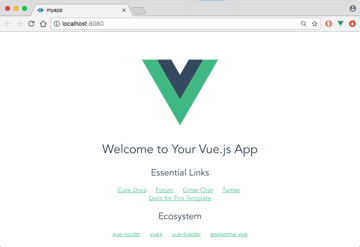The Vue starter project welcome screen