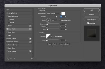Layer style inner shadow effect