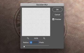 Gaussian blur filter dialog