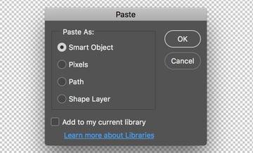 Paste smart object dialog