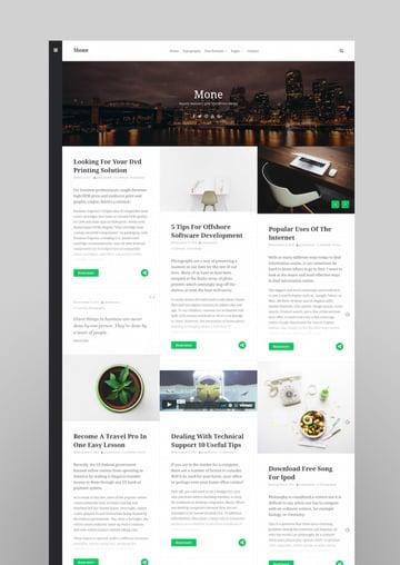 Mone - Responsive WordPress blog theme masonry grid