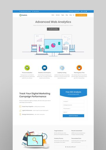 Nuovo - Social Media Digital Marketing Agency SEO WordPress Theme