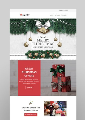 Happy - Responsive Christmas  New Year Email Templates with Stampready Builder Access