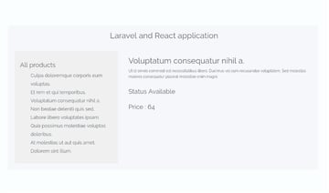 Screenshot of the React application with product details displayed
