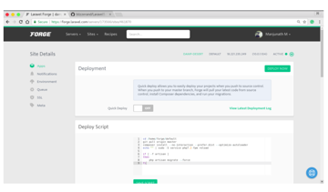 Site management dashboard with deployment controls