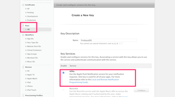 Creating a new Key in the Developer Portal