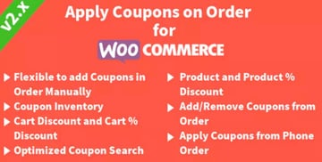 Apply Coupons on Order for WooCommerce plugin
