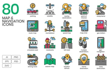 80 Map Navigation Icons