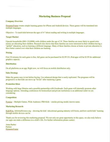 marketing business  proposal